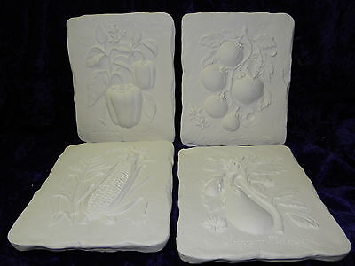 """Ceramic Ready to paint 4 x Vegetable  Plaque 9 """""""