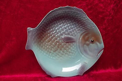Vintage Shorter & Son, Art Deco Pottery Fish Plate, Blue Purple & Gold (9' x 8')