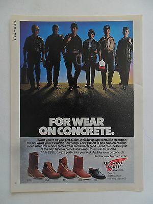 1988 Print Ad Red Wing Shoes Leather Boots ~ For Wear on Concrete