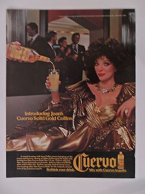 1986 Print Ad Jose Cuervo Tequila ~ Sexy TV Star Joan Collins Solid Gold Dress
