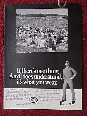 1970 Print Ad ANVIL Jeans Fashions ~ WOODSTOCK Music Festival Concert