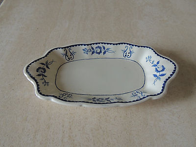 Vintage Mid-1900s ADAMS CHINA Gloucester Cobalt BUTTER DISH Made in England,
