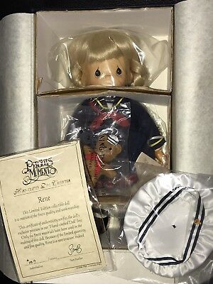 """1998 Precious Moments Rene 12"""" Handcrafted Wooden Doll Limited Ed #819/1000 New"""