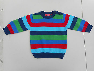 Size 0 baby boy wide striped jumper Sprout blue green red round neck cotton knit