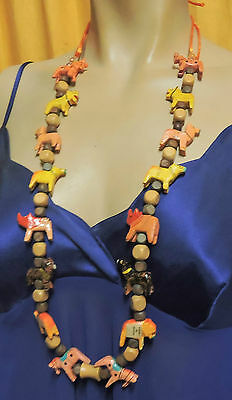 vintage hand carved painted wooden animal necklace 16 mixed animals rhino, ti