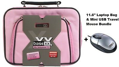 "Dicota Base 11.6"" Laptop Bag Netbook Tablet Carry Case Pink + Mini USB Mouse New"
