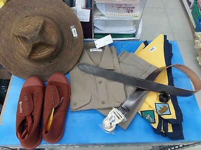 Boy Scout Khaki Safari Hat Woggle Neckerchief Scarf Leather Belt Shoes Brown