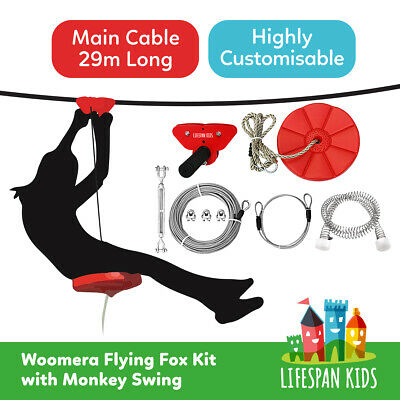 Flying Fox ZIP LINE WIRE 29m Outdoor Play Equipment Playground With Monkey Swing