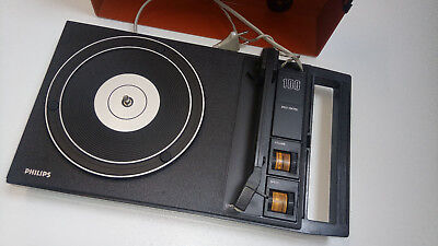 PHILIPS 100 speed control 70er PLATTENSPIELER orange-rot 70s record player