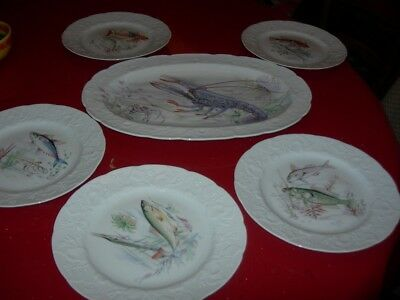 Service A Poissons     Porcelaine Du Berry Grand Plat + 5 Assiettes