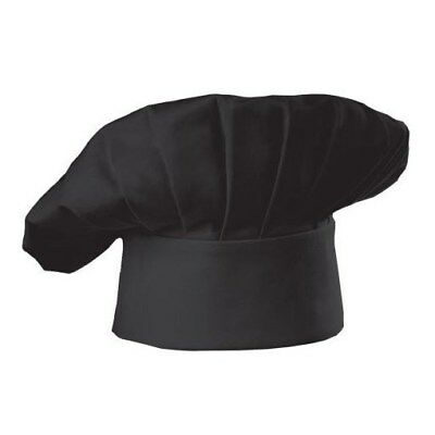 Lot of 6 BLACK Twill Chef Hat 65 Polyester/35 Cotton ONE SIZE FIT ALL VELCRO