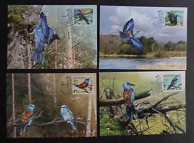 Lithuania  2008 Endangered Species European Roller Birds PHQ cards used (M)