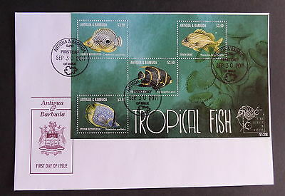 Antigua & Barbuda 2011 Tropical Fish MS4370 miniature MS FDC First Day Cover (M)