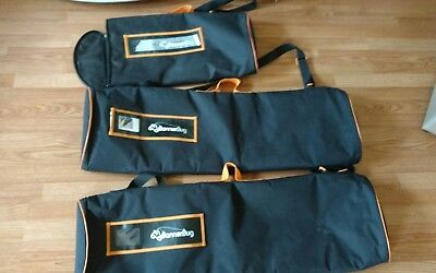 3 Carrying Case for Roll Up Banner Bug Stands with Handles used