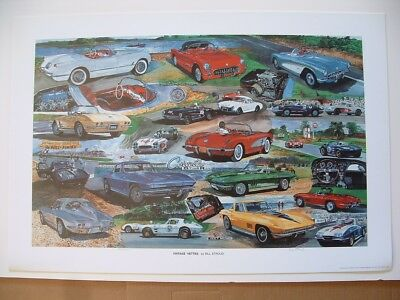 Corvette vintage Vettes mid-years limited edition art print poster Chevrolet