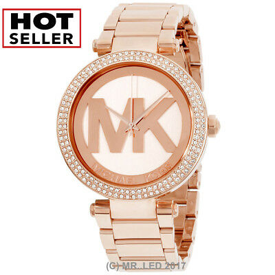 New Michael Kors Women's Parker MK5865 Rose-Gold Stainless-Steel Fashion Watch