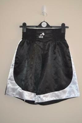 Retro Adidas Black & White Shiny Polyester Boxing Shorts Uk Medium Mens