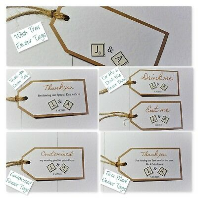 Hand-made VINTAGE SCRABBLE wedding favour tags : 6 versions, 60 colours, any qty