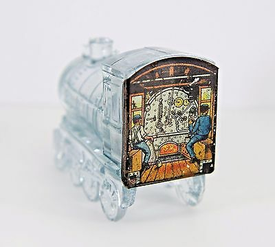 Adorable! Vintage Clear Glass Train Candy Container with Tin Litho Back