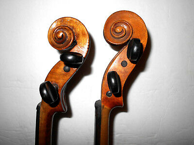 Vintage Lot of 2 Old Antique Curly Maple 2 Pc Back Violins - No Reserve