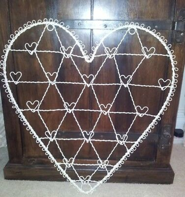 New Large Cream Vintage Wire Heart Photo Card Memo Jewellery Holder 56cm X 51cms