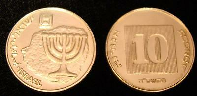WHITE GOLD Plated Ancient Menorah on Modern Israel Israeli Coin 10 Agorot UNC