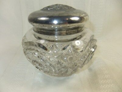 Antique Vanity Dresser Cut Glass Jar Container With Silver Metal Lid