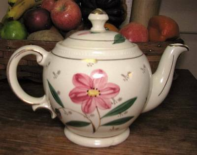 Vintage Shawnee Teapot Pink Flowers with Gold Trim