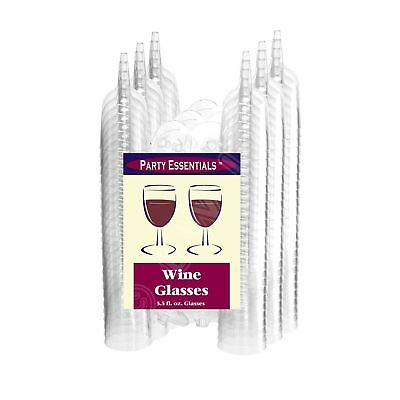 Party Essentials Hard Plastic Two Piece 5.5-Ounce Wine Glasses Clear Pack of 50