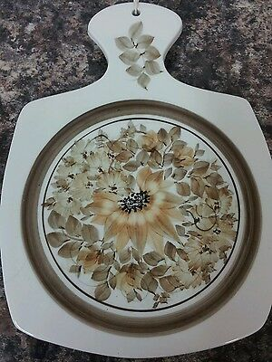 Handsome Jersey Pottery Ceramic Cheese/Chopping Platter Hand Painted Flowers