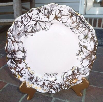 New 222 Fifth Garden Playtime Bunny Hill Pink Gold China Dinner Plate Dish