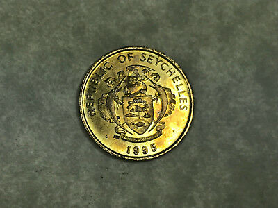 1995 Republic of Seychelles 5 Cents Coin Turtle in Coat of Arms, Tapioca Plant