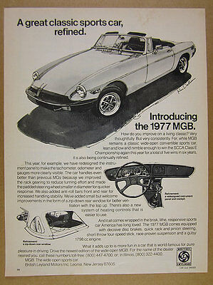 1977 MG MGB sports car Ken Dallison illustration drawing art vintage print Ad