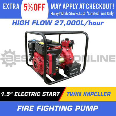 "1.5"" Water Transfer Pump Twin Impeller Fire Fighting High Flow Electric Start"