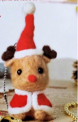 Needle Felting Kit Christmas Reindeer JAPANESE Wool fibre + Needle + eyes+ chain