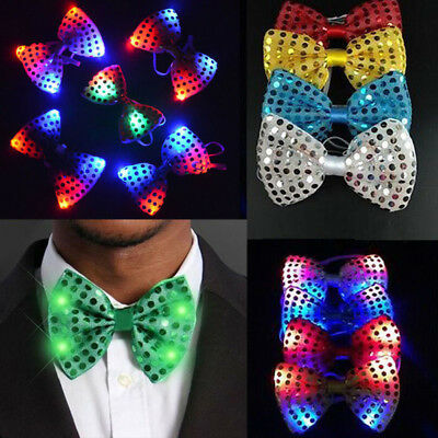 Fashion Mans LED Light Up Flashing Sequin Bowtie Necktie Bow Tie Dancing Party &