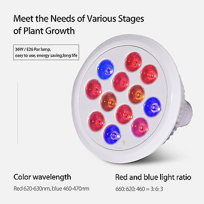 12PCS 36W LED Full Spectrum Flower Plant Grow Light Bulb Lamp Indoor for Growing
