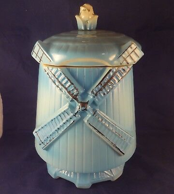 McCOY Pottery WINDMILL COOKIE JAR & LID 1961 Blue