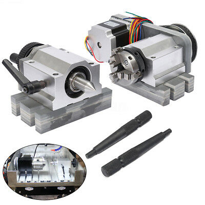 CNC Router Rotational Rotary Axis, A-axis, 4th-axis,50mm 3-Jaw Chuck &Tail Stock