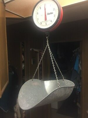Vintage Red Hanging Scale CHATILLON 20 lb., Glass Front Face, Tin Tray, New York