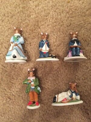 LOT OF 5 PORCELAIN WOODMOUSE FAMILY MOUSE FIGURINES FRANKLIN MINT. Free Ship