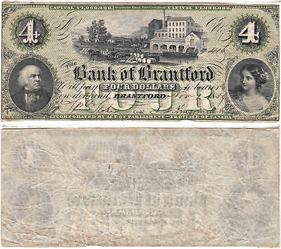 1859 $4 Canada Bank Of Brantford Very Fine