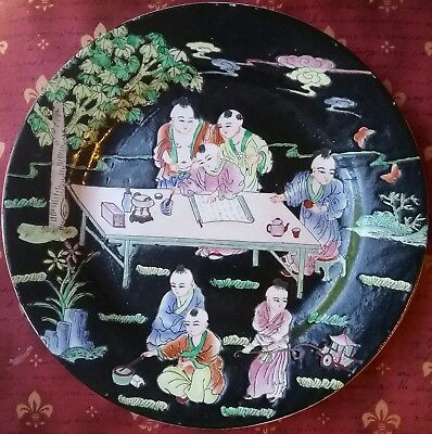 Antique/Vintage Chinese Qing Dynasty Famille Rose Porcelain Plate Qianlong Mark