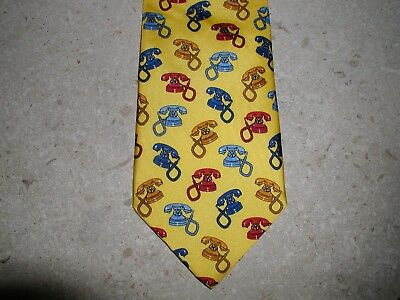 Vicente International Mens Silk Tie Gold W/ Vintage Retro Phone Telephone Print