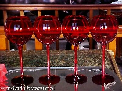 "4 BEAUTIFUL 9""Tall 16 Oz ALL RUBY COLOR BALLOON Wine Goblets Stems Glasses!"
