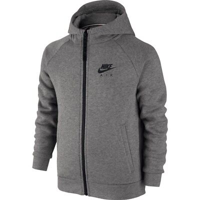 NIKE Air Grey Black Fleece Sweatshirt F/Z Hoodie Jacket NEW Youth Boys S M L XL