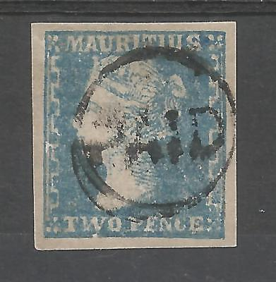 MAURITIUS  SG43a THE 1859 DARDENNE 2d  BLUE LOVELY 4 MARGIN EXAMPLE CAT £950