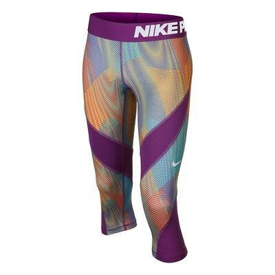 Nike Pro All Over Print Girls Junior Training Capri Leggings 807782 556