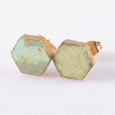 10mm Hexagon Natural Genuine Turquoise Stud Earrings Gold Plated T049131
