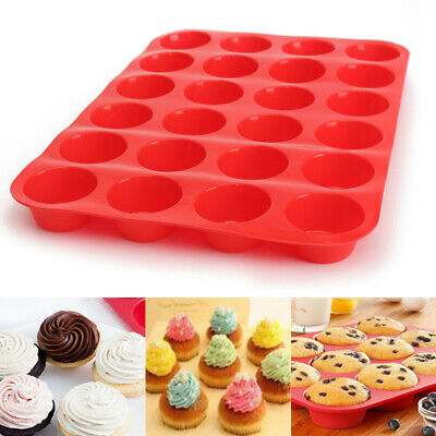 24 Cavity Silicone Muffin CupCake Cookie Chocolate Mould Pan Baking Tray Mold